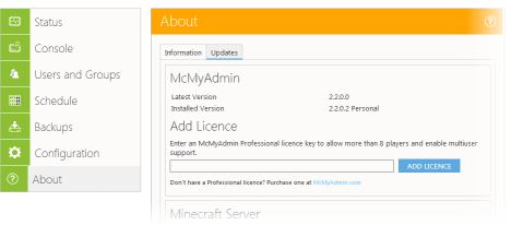McMyAdmin - The Easy-to-use Minecraft Web Admin Panel